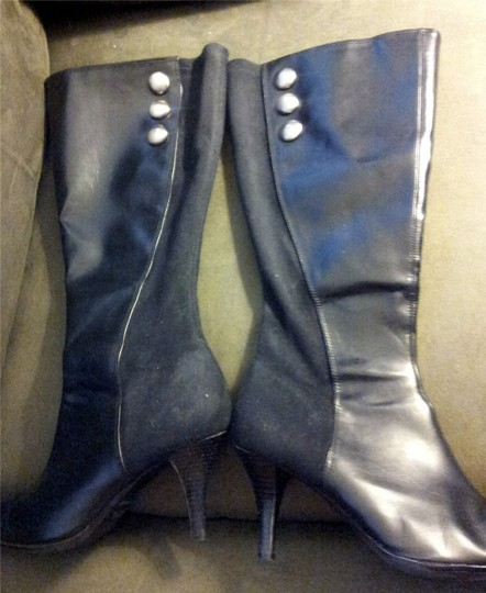 Predictions High Heeled Knee High Leather Black Boots Image 4