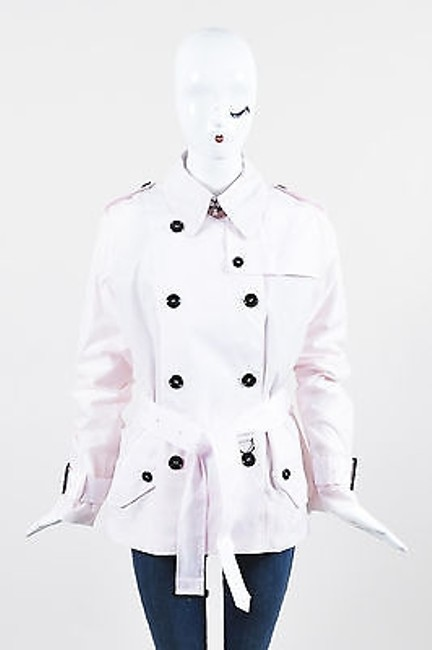 Item - Light Pink Nylon Double Breasted Trench Pea Coat
