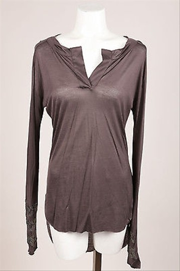 297d1be90e504a 50%OFF Thomas Wylde Gray Jersey Knit Rhinestone Embellished Long Sleeve Top