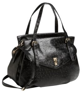 Marc by Marc Jacobs Faux Leather Ostrich Luxury Satchel in Black