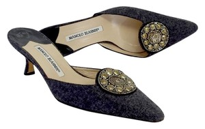 Manolo Blahnik Grey Fabric Slip On Kitten Pumps
