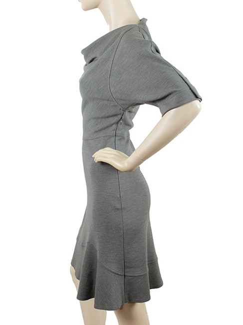 Derek Lam short dress Gray, Grey Trumpet Drape Draped Wool Brass Hardware Evening Cropped Sleeves Flared Flare on Tradesy