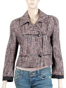 Yves Saint Laurent Tweed Ysl Double Breasted Pink, Black, Ivory Jacket