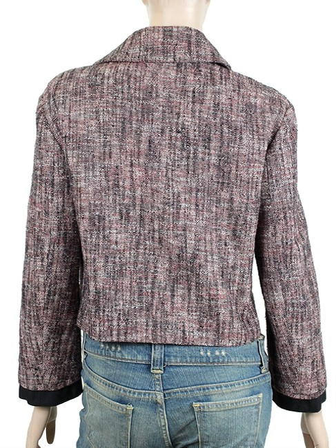 Yves Saint Laurent Tweed Ysl Double Breasted Cotton Wool Cropped Pink, Black, Ivory Jacket