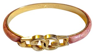 I Santi Pink Embossed Leather Coated Bangle
