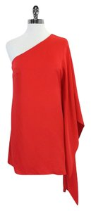 Jay Godfrey short dress Red Orange One Shoulder Silk on Tradesy