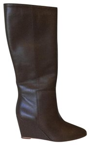 Loeffler Randall Boot Dark Taupe Leather Wedge Boots