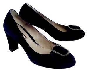 Aquatalia by Marvin K. Navy Suede Buckle Strap Pumps