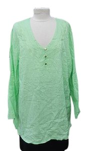 Cynthia Rowley Woman's 2x Linen Blend Long Sleeves Top Lime Green