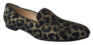 Christian Louboutin Raffia Woven Loafer Leopard Black/Gold Flats