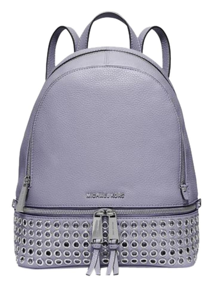 7fe068f814 Michael Kors Rhea Medium Zip Studded Lilac Leather Backpack - Tradesy