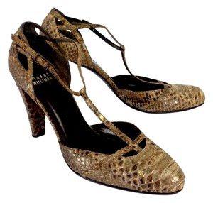 Stuart Weitzman Brown Tan Gold Flecked Heels Sandals