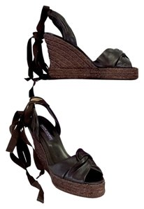 Ralph Lauren Dark Brown Espadrille Wedges