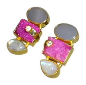 Unique Druzy and Moonstone Earrings