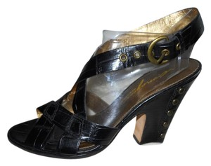 Imagine by Vince Camuto Leather Croc Studded black Sandals