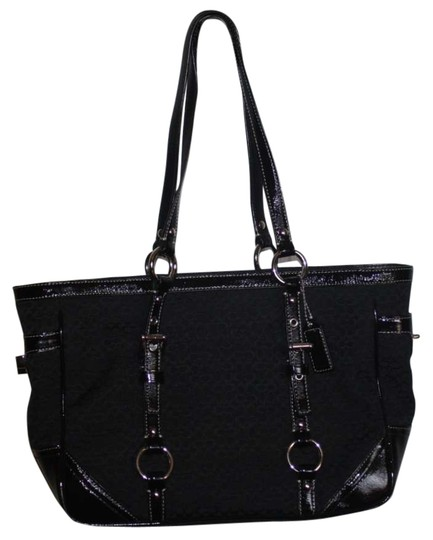 Preload https://item4.tradesy.com/images/coach-black-fabric-with-leather-accents-shoulder-bag-153863-0-0.jpg?width=440&height=440