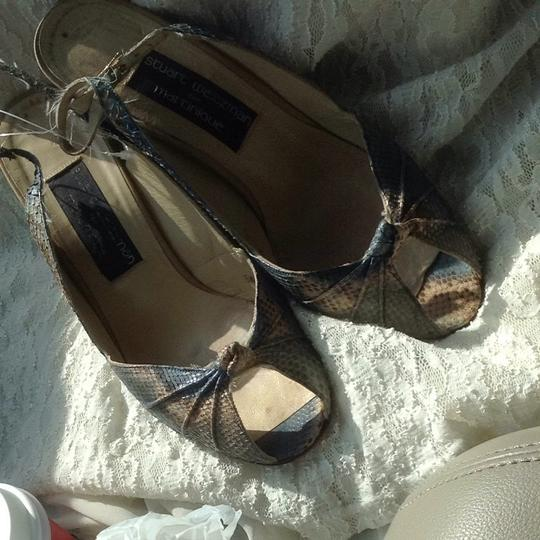 Stuart Weitzman Blue Brown Cream Sandals