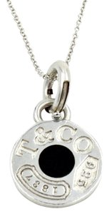 Tiffany & Co. 1837 Round Pendant in 925 Sterling Silver and Black Enamel on 18