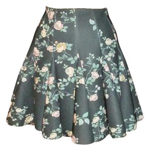 LC Lauren Conrad Mini Floral Spring Skirt green