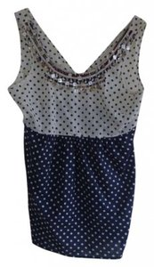 Free People Polka-dotted Top Navy Blue/White