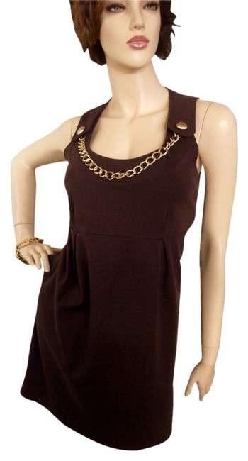 Item - Brown Gold Chain Accent Short Work/Office Dress Size 8 (M)