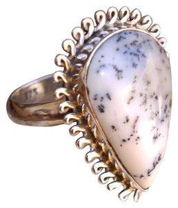 & Other Stories Sterling Silver huge Dendritic Opal gemstone ring in size 6.5
