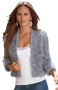 Boston Proper Spring Three Quarter Sleeve Crop Jacket Grey Blazer