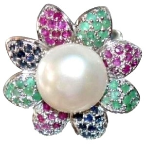 Amazing Sterling Silver Ring with Pearl, Ruby, Sapphire & Emerald Gemstones in size 7.5