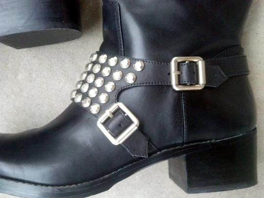 BCBGMAXAZRIA Moto Motorcycle Black Leather Studded Boots