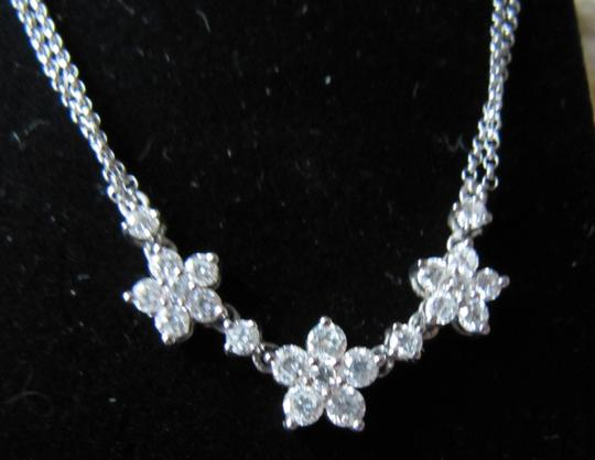 Other Gorgeous 14kt WG double chain diamond flower necklace
