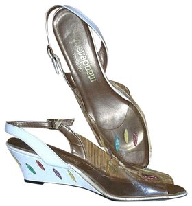 California Magdesians Acrylic Embroidered Leather Vintage Clear White Sandals