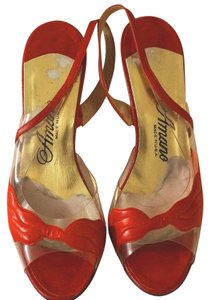 Amano Acrylic Vintage Leather Vintage Clear Red Sandals