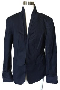 7 For All Mankind Navy Cotton Jeans Linen Navy Blue Blazer