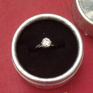 Solitaire White Sapphire Engagement Ring Free Shipping
