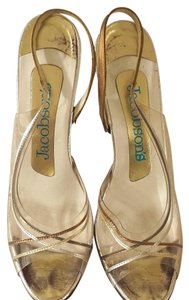 Jacobsens Acrylic Multicolor Leather Leather Vintage Bronze Silver Gold Bronze Clear Sandals