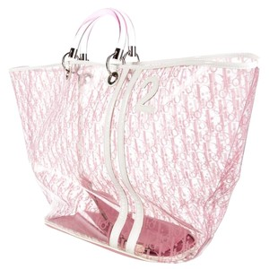 Dior Oversized Monogram Tote in Pink, White, Clear