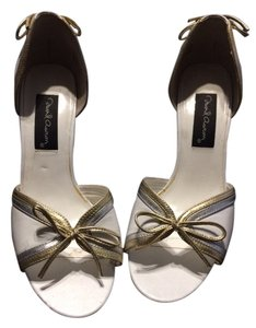 David Aaron Wedding Metallic Trim Bows White Sandals