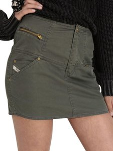 Diesel Mini Cotton Women Cargo Mini Skirt Olive Green