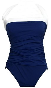 Ralph Lauren Shirred Bandeau Halter Swimsuit Slimming Fit