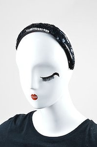 Chanel Chanel Navy Sequin Embellished Thick Headband