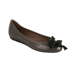 Anthropologie Leather Metallic Grey Flats