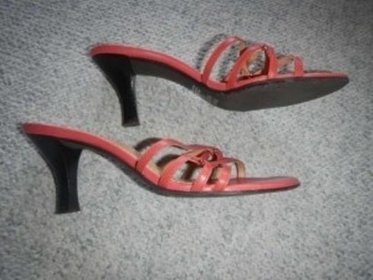 Franco Sarto Color Strappy Heels. Coral Sandals