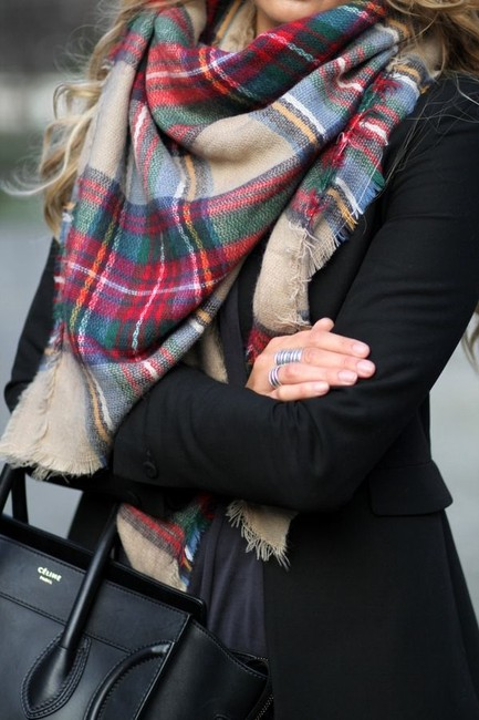 Item - Camel New with Tags Large Plaid Blanket Scarf/Wrap
