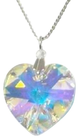 myself made with Swarovski componets Swarovski Aurora Borealis Sterling Silver Heart Ab 18 Inch New