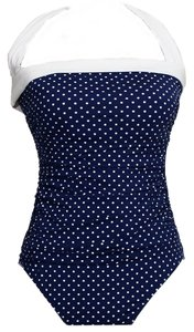 Ralph Lauren Polka Dot Shirred Bandeau Halter Swimsuit Slimming Fit