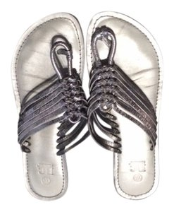 BC Footwear Metallic Thong Straps Leather Metallic Silver Sandals