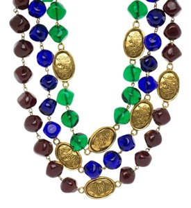Chanel Chanel Vintage Multicolored Gripoix Gold Crown Beaded Necklace
