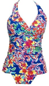 Ralph Lauren Paradise Paisley Shirred Halter Twist Tankini Swimsuit Slimming Fit