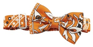 Hermès Hermes Collections Imperiales Orange & Black Silk Mini Bow Tie (84077)