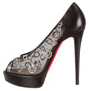 Christian Louboutin Mesh Peep Toe Ring Hardware Embellished Black, Silver, Gold Pumps